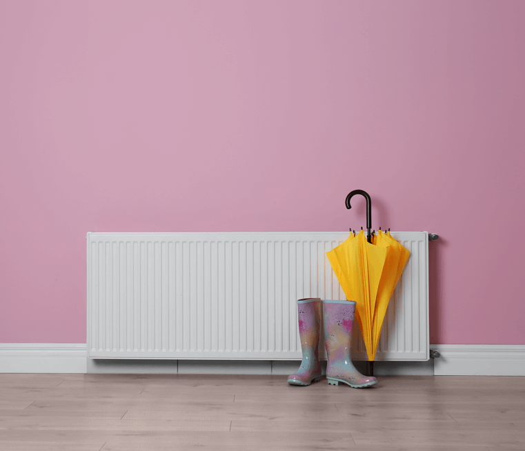 pink room with radiator